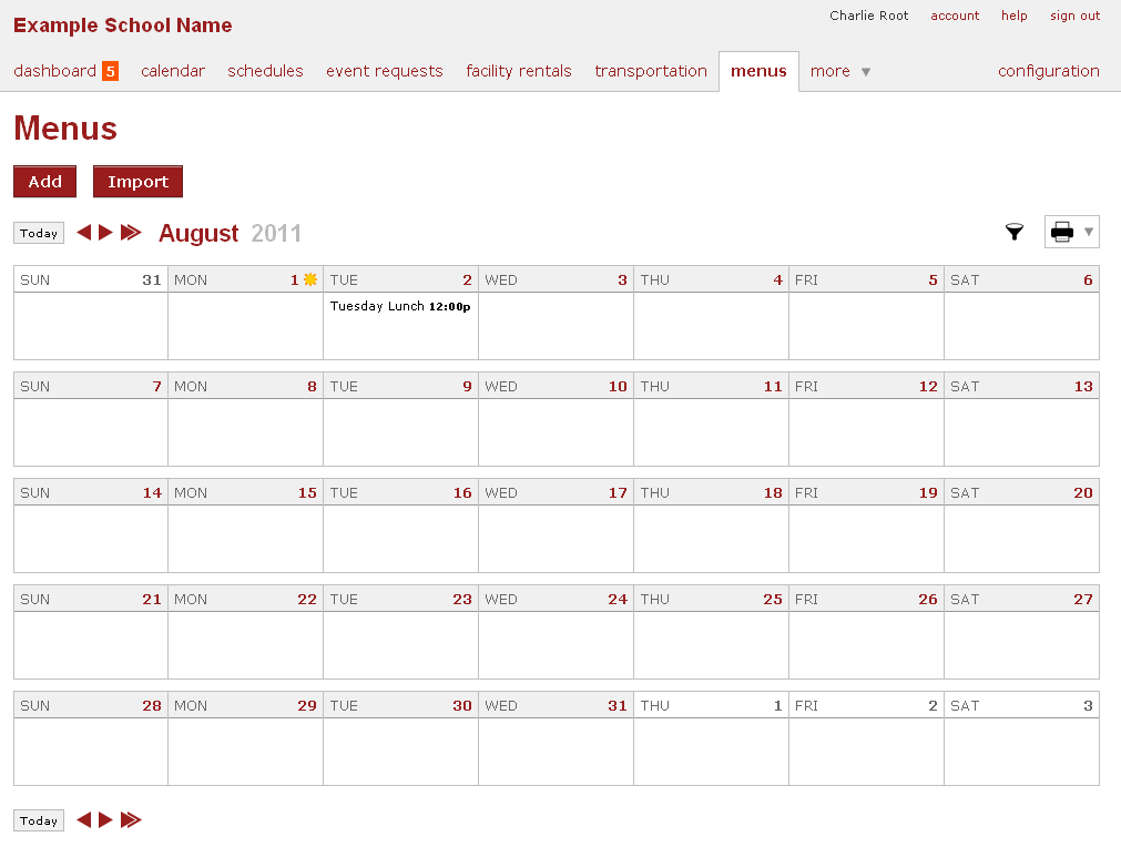 online school calendar